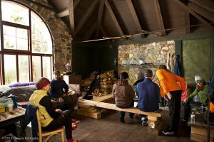 Ski to Camp Santanoni Jan 2012 with the historic buildings open to the public including the artist's studio/cabin that was heated and offered warm liquids. photo by Nancie Battaglia
