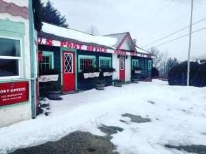 Santa's Workshop, in the snow.